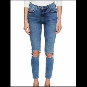 Free People 29 High Rise Busted Skinny Jeans 3Z17